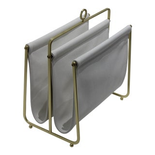 Petite Magazine Rack White Faux Leather and Gold Tone Carrier For Sale