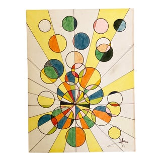 1970's Original Geometrical Painting For Sale
