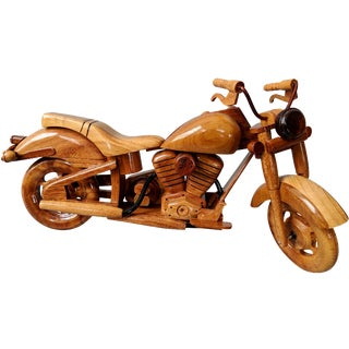 Vintage Style Handcrafted Wood Motorcycle Model For Sale