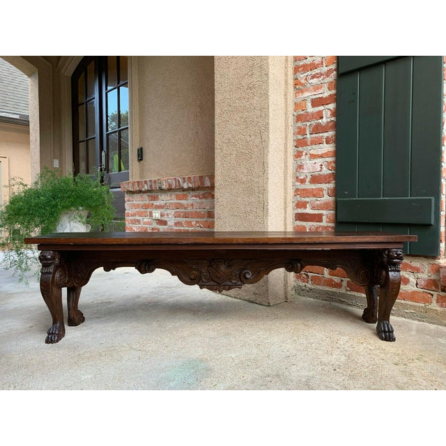 Wood 1900s Antique Italian Carved Walnut Renaissance Revival Bench Ottoman For Sale - Image 7 of 13