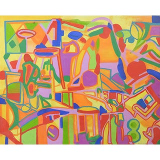 Mid Century Abstract Painting Bright Tropical Colors For Sale