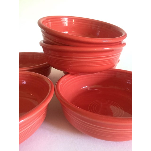 Various Artists Vintage 1980's Fiesta Ware Homer Laughlin Persimmon Coral Coupe Cereal Soup Bowls - Set of 6 For Sale - Image 4 of 13