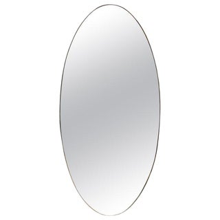 Late 1960s Oversize Oval Wall Mirror, Italy For Sale