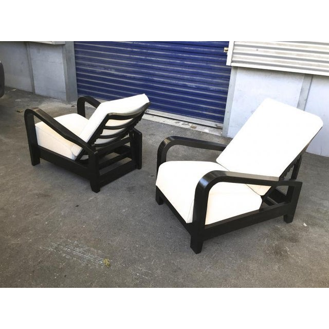 Wood Pair of France 50s Exceptional Leaning Comfy Lounge Chairs Fully Restored For Sale - Image 7 of 8