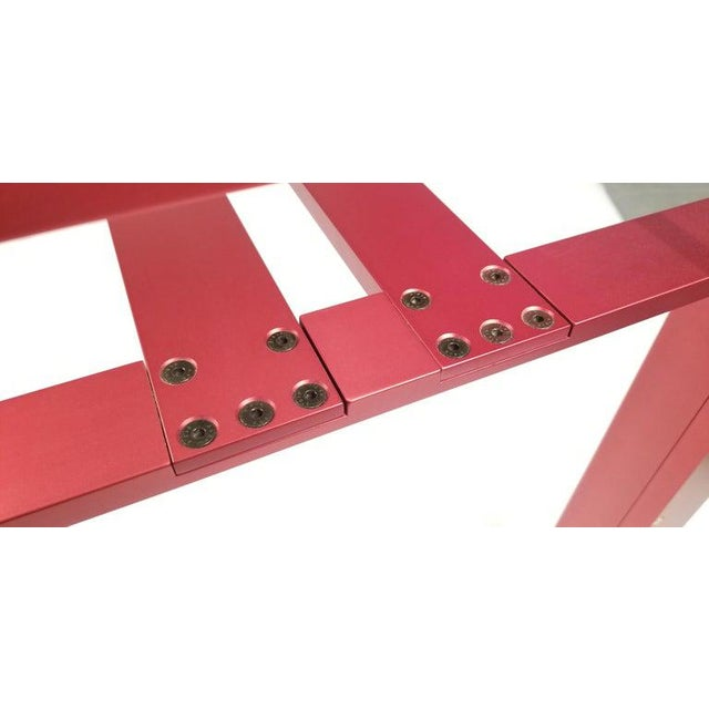 Contemporary Carlo Scarpa Red Anodized Architectural 'Doge' Dining Table for Cassina Simon For Sale - Image 3 of 10