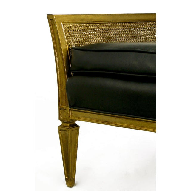 Black Antique Gilt Finish & Black Naugahyde Moorish Style Lounge Chair For Sale - Image 8 of 10
