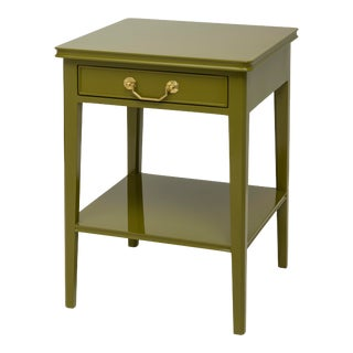 Pentreath & Hall Collection Small Bedside Table in Olive Green With Tiffany Blue Drawer Interior For Sale