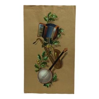 "Vintage Mid-Century ""Music Tree"" Yolash Original Painting For Sale"