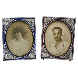 Antique Italian Micro-Mosaic Frames, S/2 For Sale