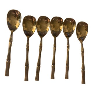 Vintage Mid-Century Brass Faux Bamboo Demi Spoons - Set of 6 For Sale