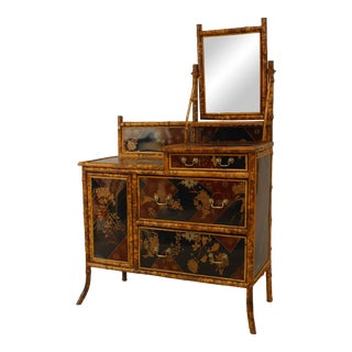 English Vicorian Bamboo & Chinoiserie Dresser For Sale