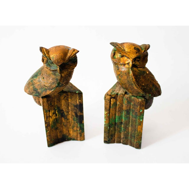 Metal Cast-Metal Painted Owl Bookends - a Pair For Sale - Image 7 of 7
