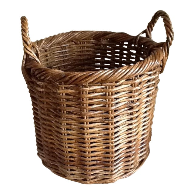 Large Natural Wood Wicker Basket - Image 1 of 6