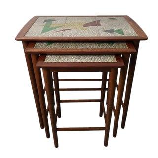 Vintage Tiled Teak Nesting Tables - Set of 3