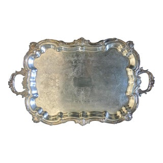 """Vintage 30"""" Towle Silver Plated Baroque Style Serving Tray For Sale"""