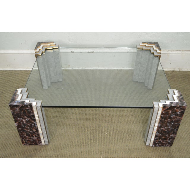 Maitland Smith Tessellated Marble & Stone Glass Top Large Coffee Table - Image 2 of 10