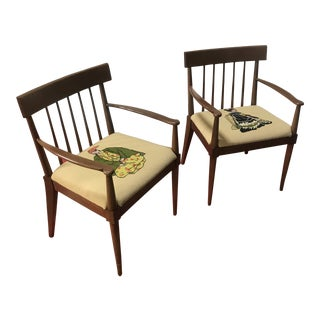 Mid Century Chairs Walnut/Maple With Needlepoint - A Pair For Sale