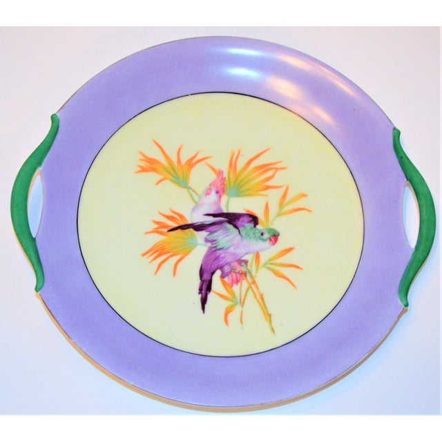 1950s Antique Lilac Moschendorf Bavaria Cake Plate With Parrots For Sale - Image 5 of 10