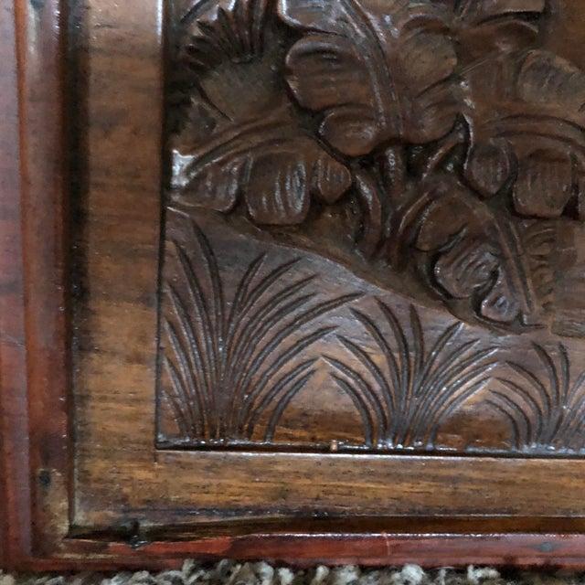Wood Vintage Hand-Carved Teak Panel For Sale - Image 7 of 9