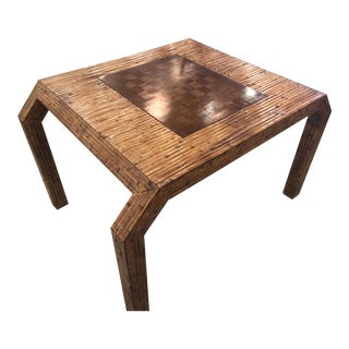 Vintage Hollywood Regency Palm Beach Flat Reed Bamboo Rattan Game Dining Table For Sale