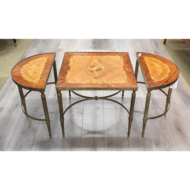 Contemporary Mastercraft Inlay Wood Three Piece Coffee Table For Sale - Image 3 of 6