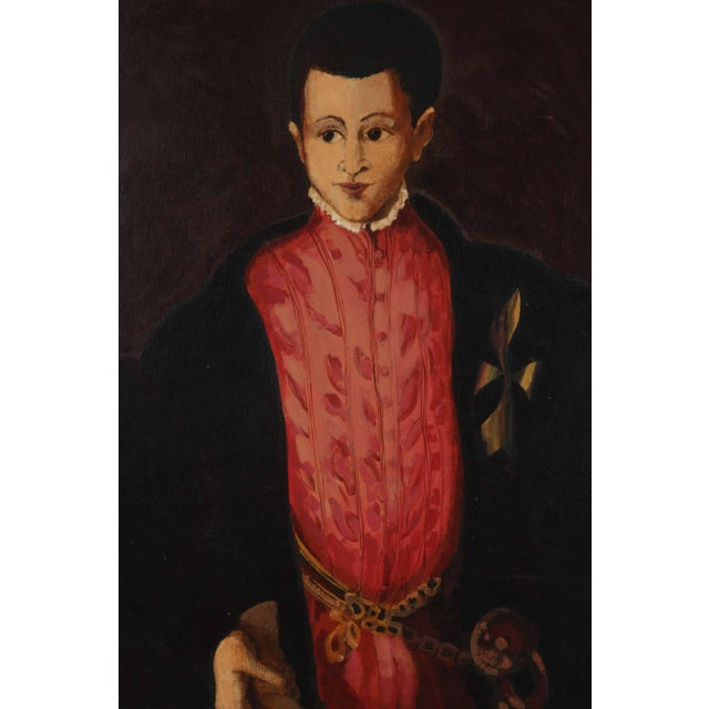 "Canvas ""Young Spanish Man in Black Coat"" Oil on Canvas For Sale - Image 7 of 8"