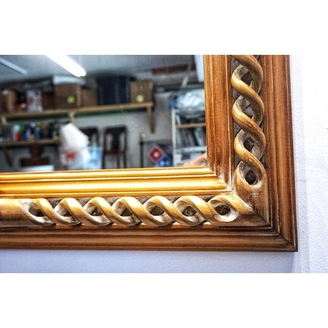 Vintage Mid-Century English Carved Walnut Barley Twist Mirror For Sale - Image 4 of 13