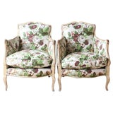 Image of Pair of Diminutive Painted French Bergères For Sale