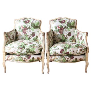 Pair of Diminutive Painted French Bergères For Sale