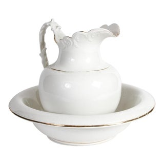 Semi-Vitreous Porcelain Basin and Pitcher For Sale