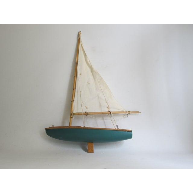 Handmade Wooden Sailboat Model - Image 2 of 3