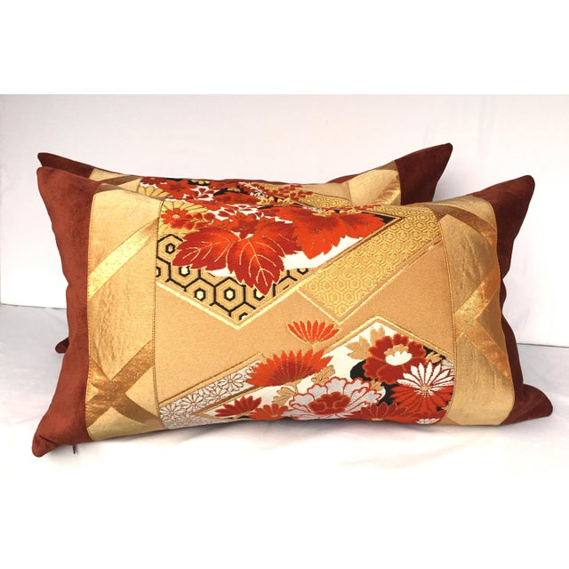 Vintage Japanese Gold & Rust Obi Pillows - A Pair - Image 2 of 7