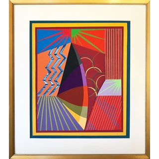 Vintage Colorful Geometric Abstract Collage by Isabel Brittain For Sale