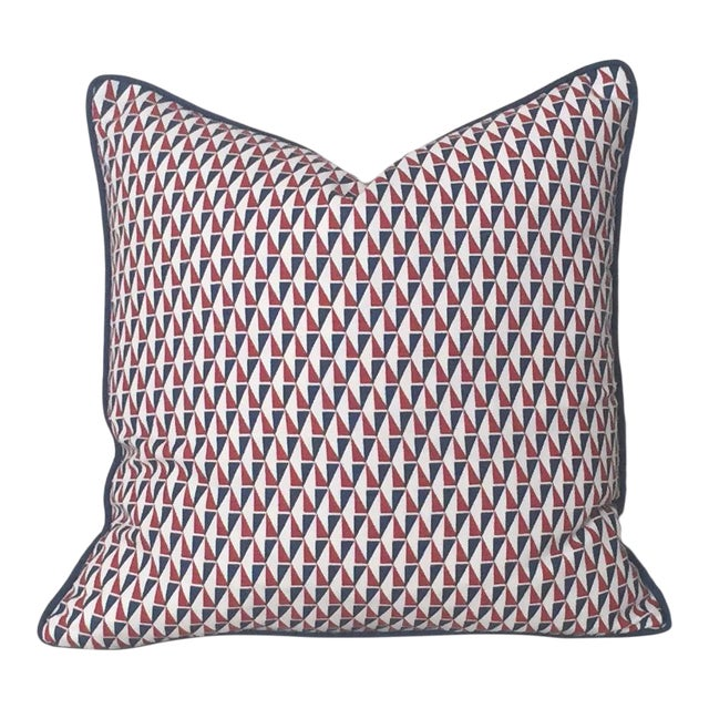 Schumacher Mid-Century Modern Frank Lloyd Wright Designer Pillow Cover With Navy Piping - 20x20 For Sale