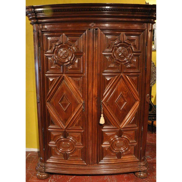 18th Century French Carved Walnut Bow-Front Perigord Armoire - Image 2 of 8