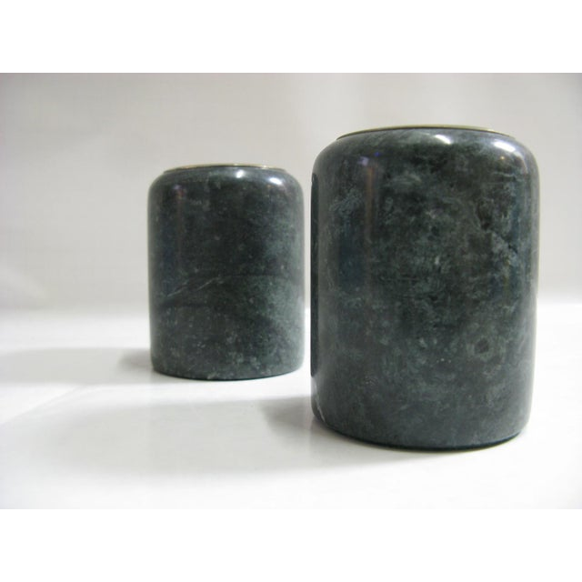 Mid-Century Modern 1980s Green Marble Candle Holders - a Pair For Sale - Image 3 of 10