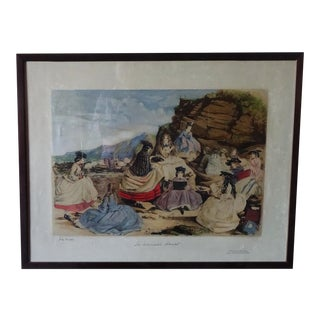 "John Leech Original ""Mermaid's Haunt"" Chromolithograph C.1850 For Sale"