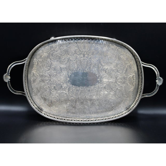 Art Deco English Silver Plate Handled Tray With Gallery For Sale - Image 9 of 13