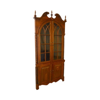Chippendale Style Hand Crafted Solid Walnut Corner Cabinet