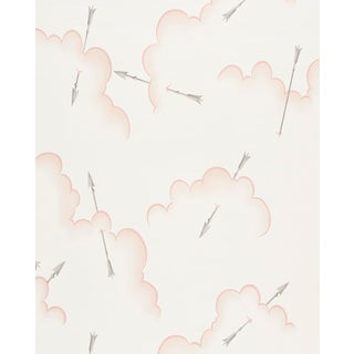 Schumacher X Charlap Hyman Herrero Mercurio Wallpaper in Blush For Sale