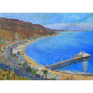 """Malibu Pier, California"" Oil Painting by Martha Holden For Sale"