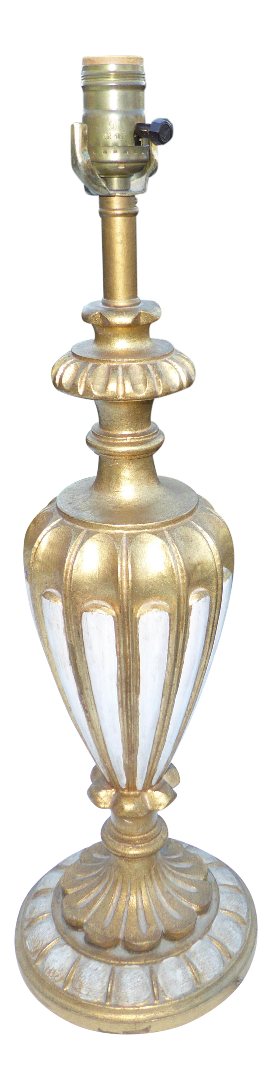 Vintage Italian French Rococo Style Gold U0026 White Table Lamp
