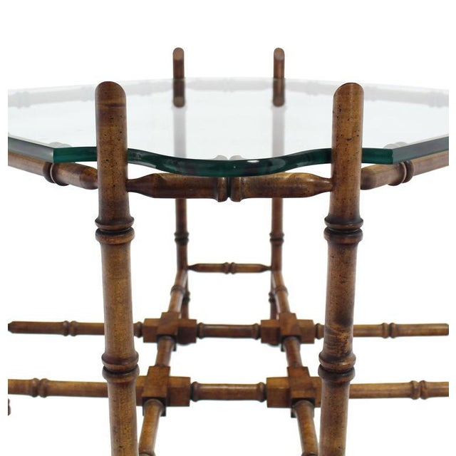 Faux Bamboo Glass Top Side Table For Sale - Image 4 of 9