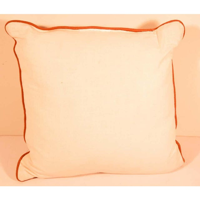 Silk decorative accent pillow with Baroque Moorish decor gold velvet applique in front of the pillow, Light orange and...