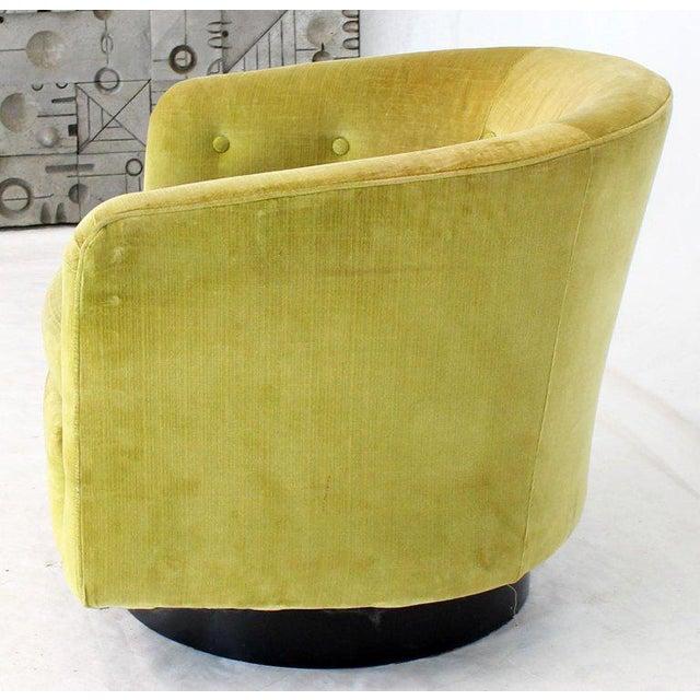 Milo Baughman Single Lounge Chair Swivel Barrel Back Velvet Upholstery For Sale In New York - Image 6 of 7