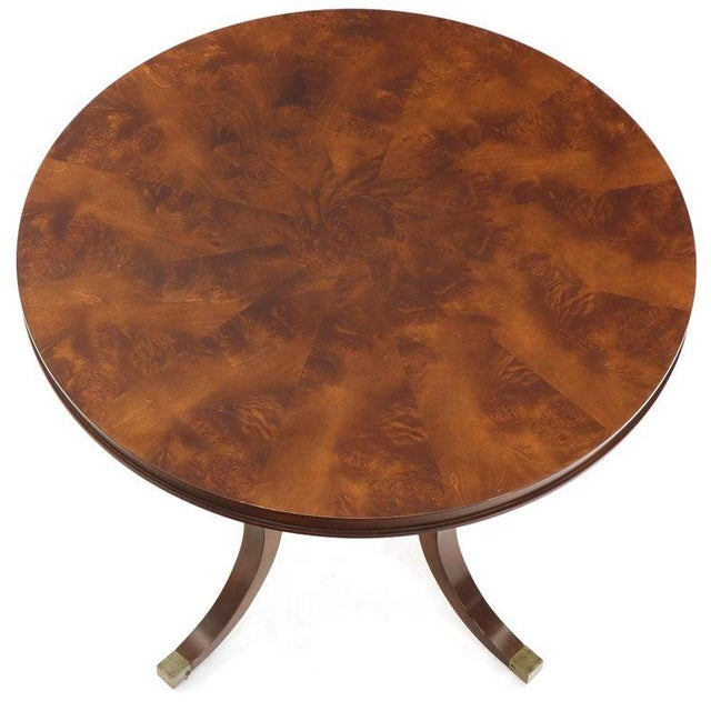 Flame Mahogany Round Top Lamp Table by Century For Sale - Image 12 of 13