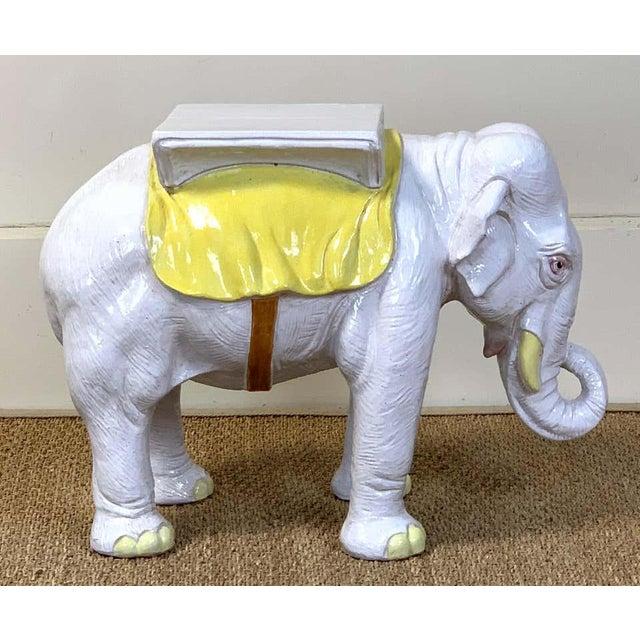 Italian Glazed Ceramic Elephant Garden Seat For Sale In Richmond - Image 6 of 13