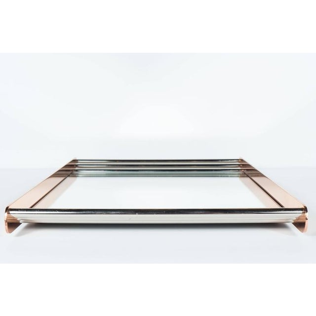 Silver Art Deco Machine Age Skyscraper Style Mirrored Tray with Copper and Chrome For Sale - Image 8 of 11