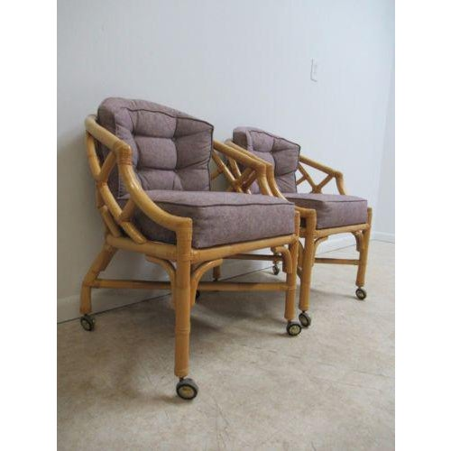 Boho Chic Vintage Ficks Reed Rattan Bamboo Arm Chairs -A Pair For Sale - Image 3 of 11