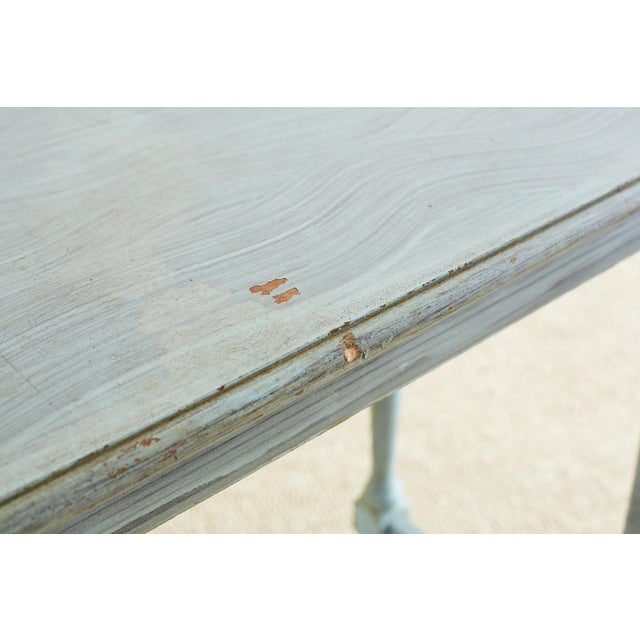 1920s Robin's Egg Blue Painted Console Sofa Table For Sale - Image 5 of 13